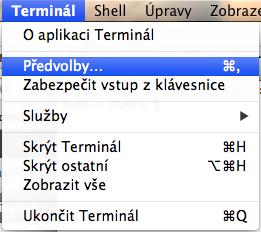 Terminal.app nastavení